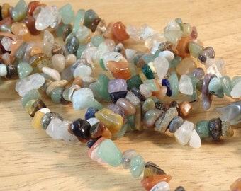 "Mixed Gemstone Chip Bead Strand, 31"", small chip--5mm to 8mm (autumn fall tones green orange brown clear, quartz aventurine agate natural)"