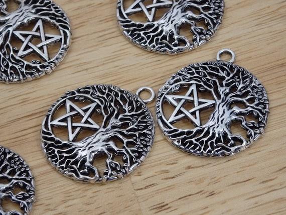 1 Triple moon tree charm antique silver tone HC210