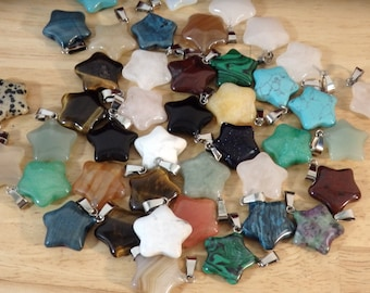 Mixed Stone STAR Pendants, silver Tone Bail. (small stone, gem, crystal, healing, symbol unakite aventurine agate love valentine pagan)