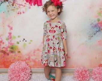 Spring Owl Knit Twirl Dress