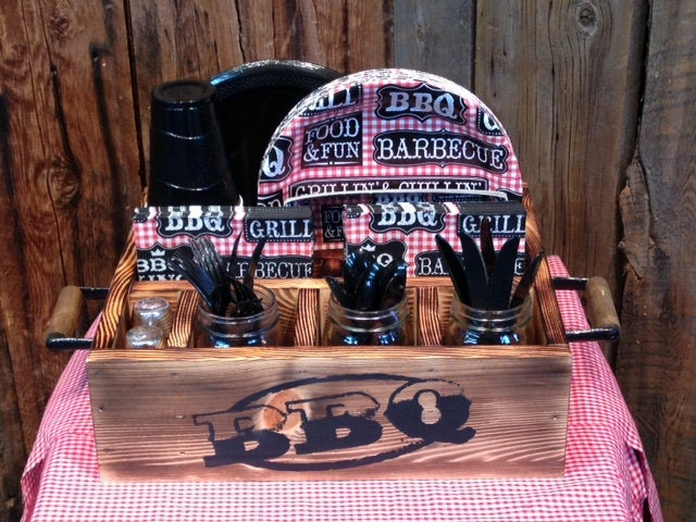 Back Yard Barbecue Tableware Party Decor Utensil Holder Etsy