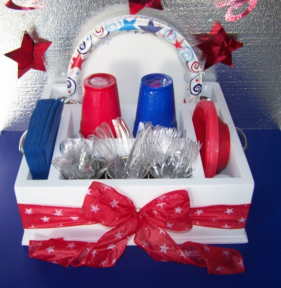 Fourth of July tableware utensil holder caddy. White with red stars ribbon. Holds napkins paper plates utensils and more. from WorkHorseFurniture on Etsy ... & Fourth of July tableware utensil holder caddy. White with red stars ...