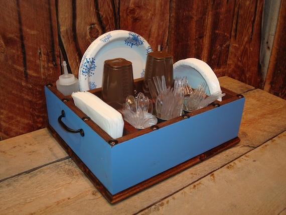 Light blue utensil tableware caddy organizer for your napkins, paper ...
