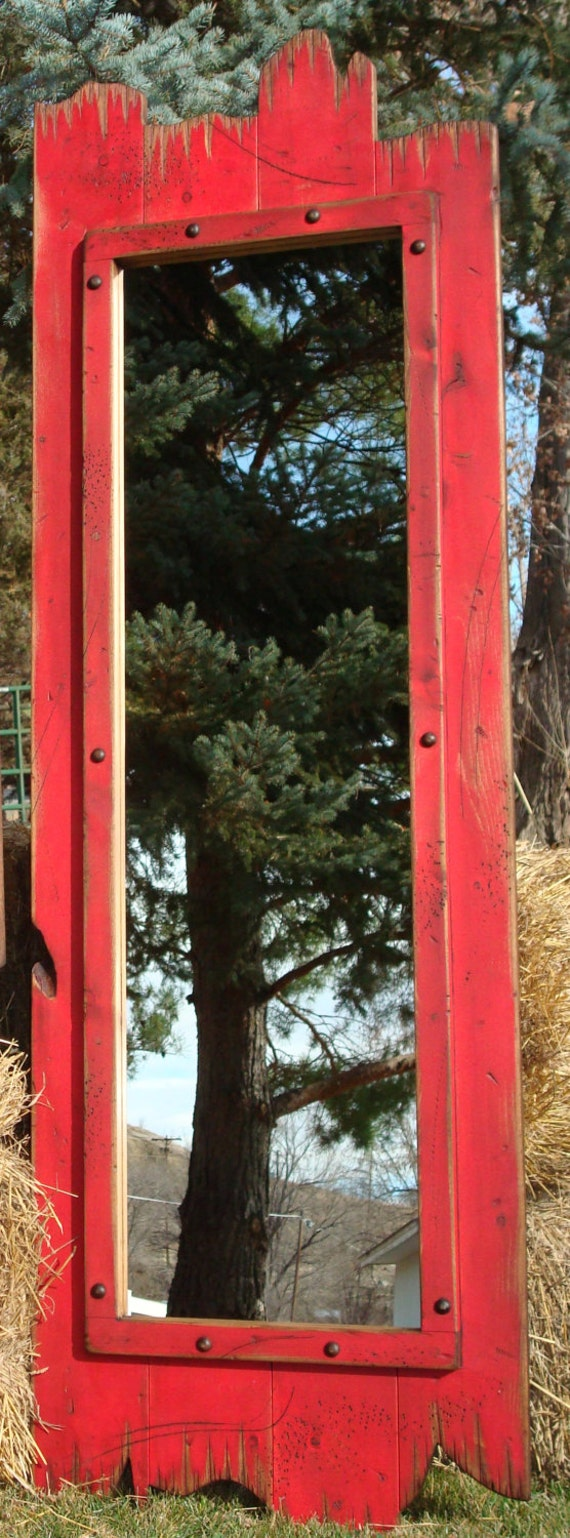 60x22 Full Length Red Barn Wood Mirror Great For Any