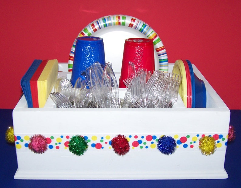 Bright /& colorful kids birthday tableware caddy decor utensils and more Decorate again for more parties. Great for napkins paper plates