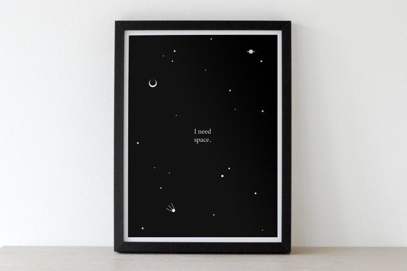 I NEED SPACE  Digital Download illustration space stamp image 0