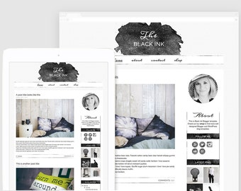 Watercolor Blogger Template — Creative Blog Layout — Lifestyle Blog Design — Responsive Blog Template — Hand-crafted Blog Theme / Black Ink