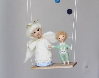 Guardian Angel baby Mobile, needle felted nursery decor, crib decoration, babyshower eco friendly gift for kids