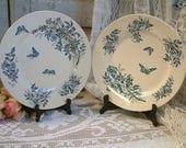 Antique french teal transferware round serving platter. Teal transferware. Jasmine.Butterflies. Blue green transferware. Jeanne d 39 Arc living