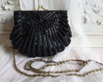 01b6a7b2de Vintage français noir perlé petite soirée sac à main. Sac à main noir perlé  embrayage. Bourse d'embrayage festonné Sea Shell. Sac à main formel noir