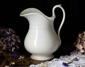 Antique french white footed ironstone washing pitcher. Antique white ironstone pitcher. Jeanne d 39 Arc living. French nordic decor.