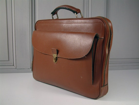 French vintage genuine leather briefcase schoolbag