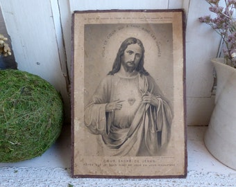 Antique french carton lithograph of Jesus with Sacred Heart. Christian home decor. Religious decor. Jeanne d'Arc living. Tea stained