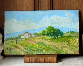 French vintage landscape oil painting. Provence landscape painting. Rustic farmhouse. Farm painting. Shabby cottage decor