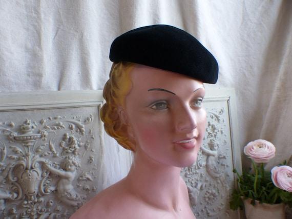 French vintage ladies black velvet beret. Woman's… - image 4