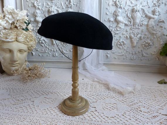 French vintage ladies black velvet beret. Woman's… - image 5