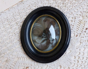 Antique french mourning hair art frame. Small Antique mourning hair art. Mourning souvenir. Momento mori. Mortuary art
