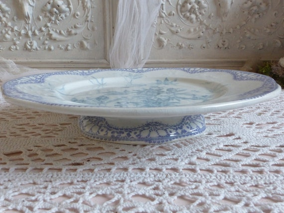 Pastry display plate Lavender and blue fotted cake plate Antique french lavender transferware cake stand Lavender french transferware