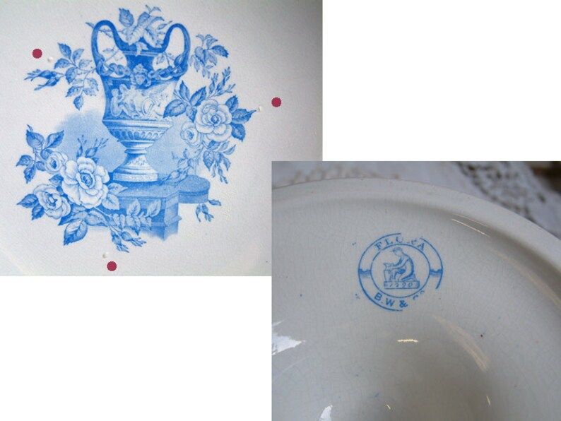 Walker /& Co Blue transferware compote dish Bates Shabby cottage chic Antique english blue transferware cake stand Romantic home decor