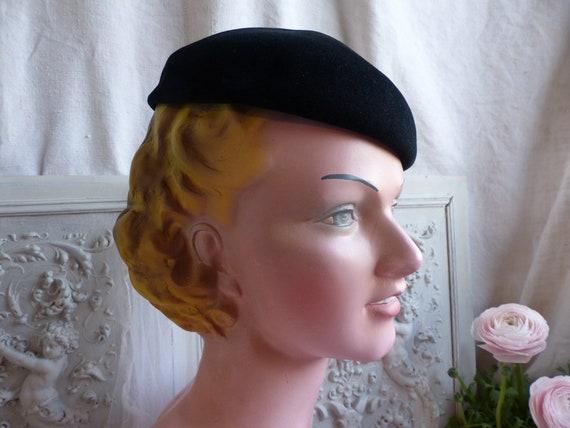 French vintage ladies black velvet beret. Woman's… - image 6