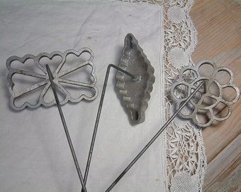 Set of 3 french vintage beignet irons. Homemade beignets. French beignet. French kitchen. French country home. French vintage decor