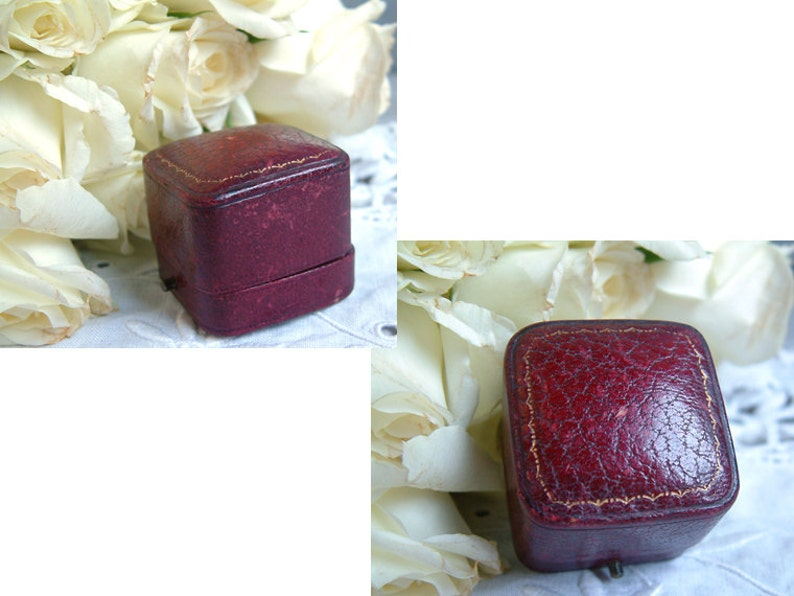 Something old Antique red leather engagement ring box Vintage wedding. Antique wedding Antique leather ring box