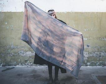 Rey // Big scarf // Layer scarf // One of a kind // Grey burnt orange