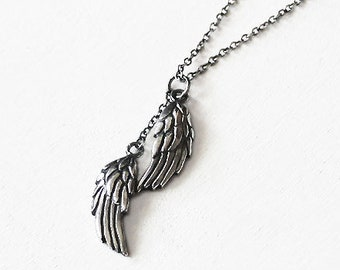 Cupid de Locke Necklace. Sterling Silver Wing Pendant Necklace. Antique Momento Mori. Feather. Valentines Day. Gifts for Her. Love.