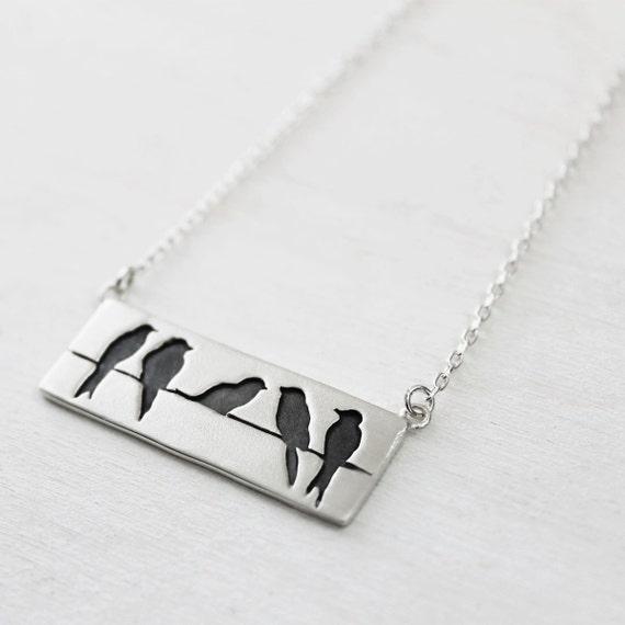 Sterling Silber Vögel auf einem Draht Halskette w / Kette.