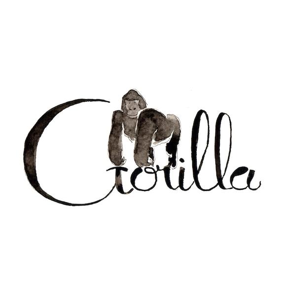 G como gorila-aprende el alfabeto jugando: Qué nombre de | Etsy
