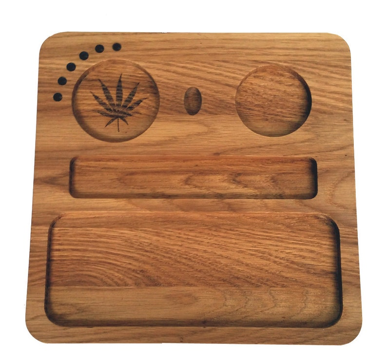 Rolling Tray. Weed Tray Grinder Stoner Gift Set Solid Oak image 0