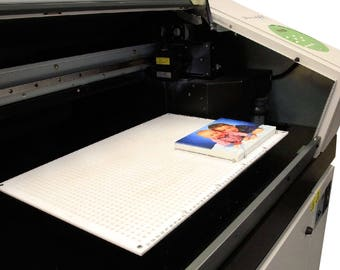 Roland LEF-20. Printing. Acrylic Printing. UV Ink Jet Printer. Universal Pegboard Master Jig for product positioning. UV Ink. uv printers.