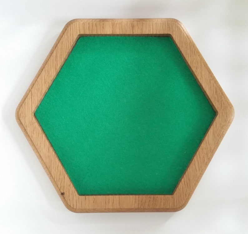 Dice Tray made from Oak and lined with green baise. Hand made image 0