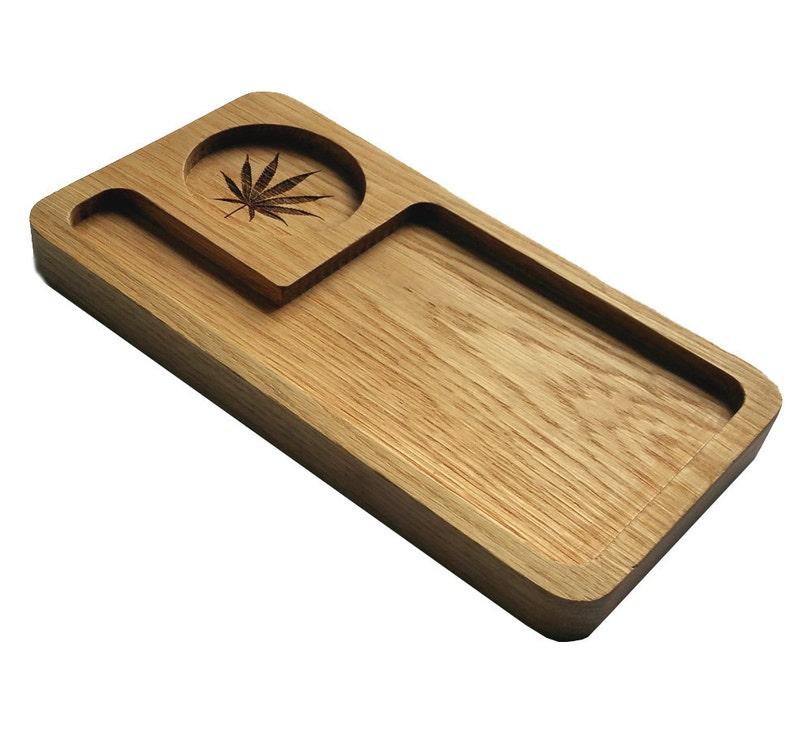 Rolling Tray. Weed Grinder Stoner Gift Set Solid Oak Deluxe image 0