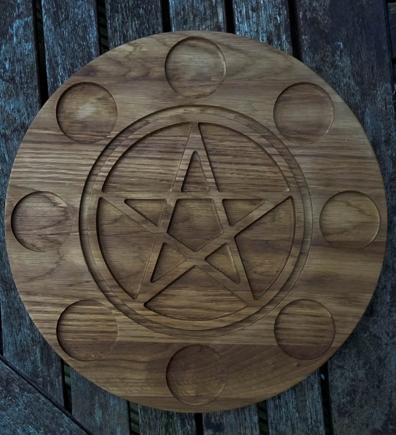 Wiccan Pentagram Tealight Holder. Oak. Halloween image 0