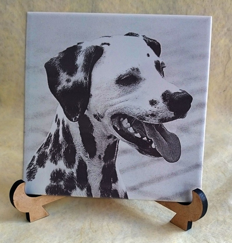 Dog portrait 150mm sq ceramic tile engraved with your dogs or image 0