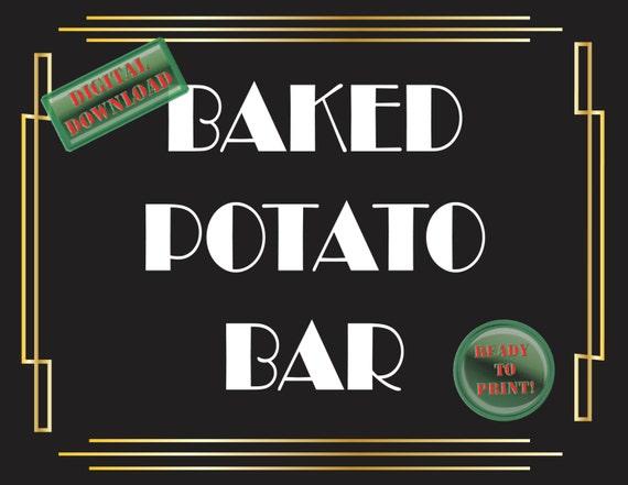 Baked Potato Bar Printable Sign Art Deco Food Table Sign Etsy