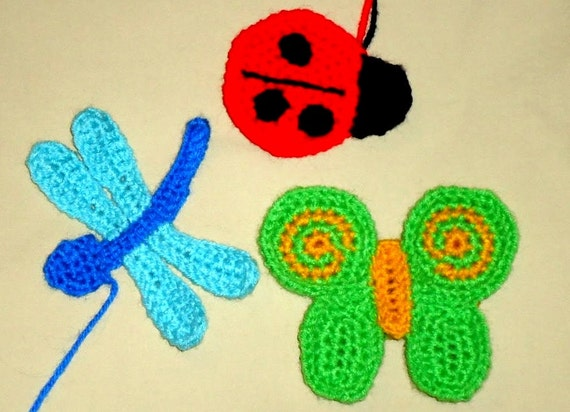 Bug Applique Pattern Set Of A Crochet Ladybug Dragonfly And Etsy