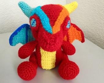 Fire and Ice Dragon pattern - fantasy crochet pattern - dragon amigurumi pattern pdf Digital Download