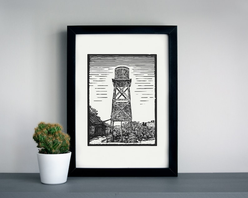 Goldfield ghost town Water tower linocut print  Goldfield image 0