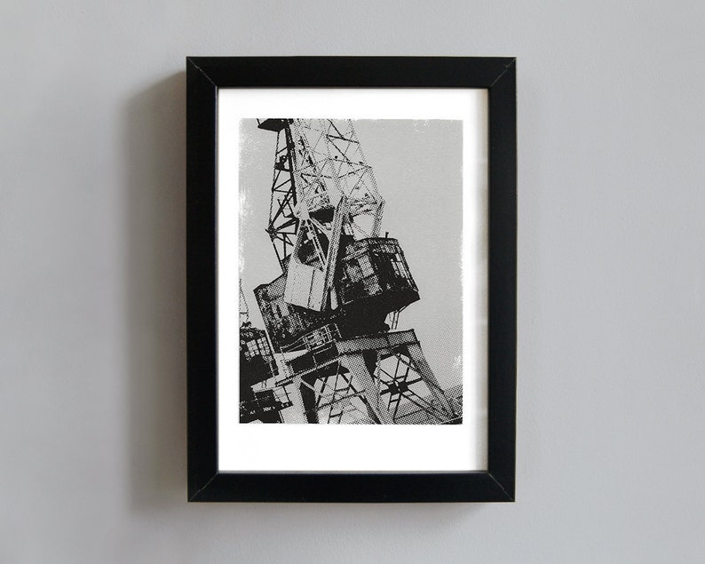 Dockside crane screenprint  industrial art print image 0