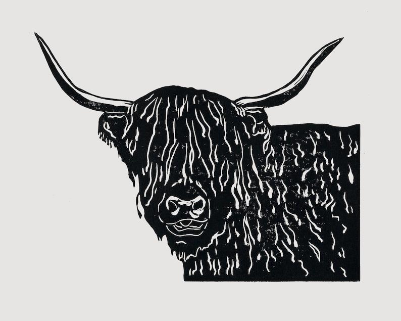 Highland Cow linocut  scottish themed art highland cow image 0