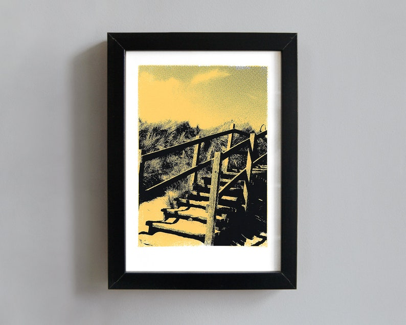 Beach Steps art print  screenprint wall art beach inspired image 0