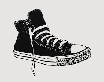 High top sneaker art - linocut print, retro sneaker print, kids wall art