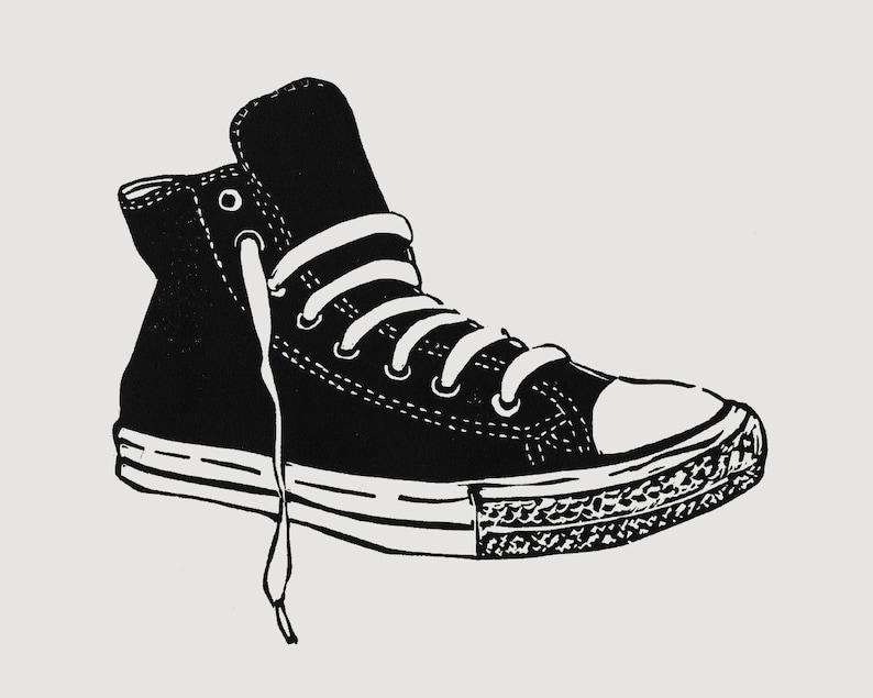 High top sneaker art  linocut print retro sneaker print image 0