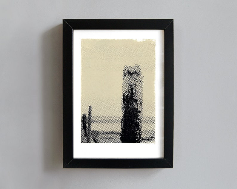 Rusty marker post art print  screenprint wall art beach image 0