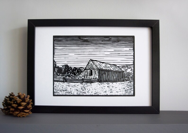 Capitol Reef Barn linocut print  wooden barn linocut print image 0