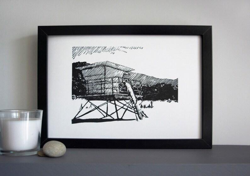 Lifeguard tower art print  surf tower linocut Stinson beach image 0