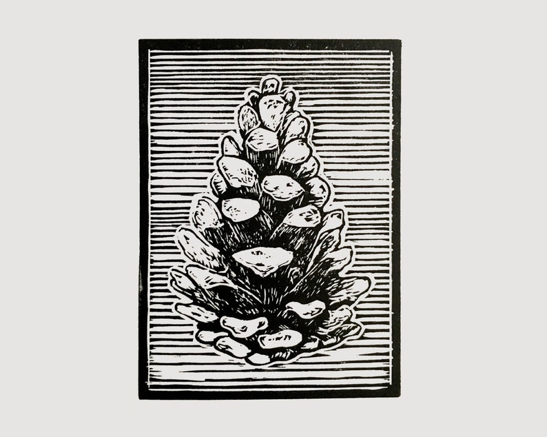 Pine cone linocut print  relief print nature print image 0