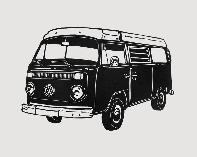 VW Campervan print  campervan linocut retro art print gift image 0